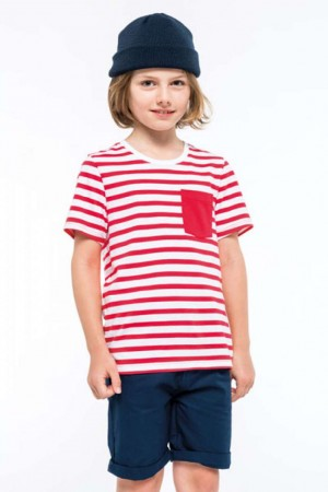 KIDS' STRIPED SHORT SLEEVE SAILOR T-SHIRT WITH POCKET