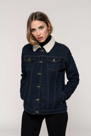 LADIES' SHERPA-LINED DENIM JACKET